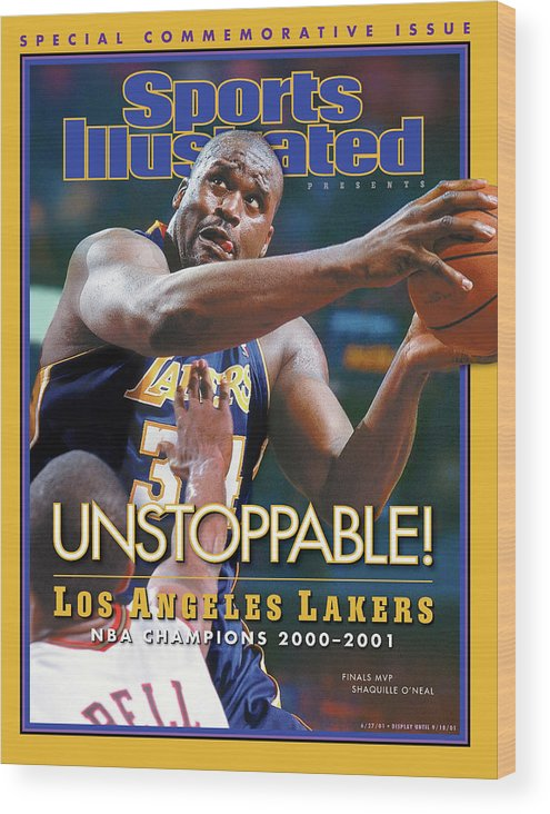 Playoffs Wood Print featuring the photograph Los Angeles Lakers Shaquille Oneal, 2001 Nba Champions Sports Illustrated Cover by Sports Illustrated