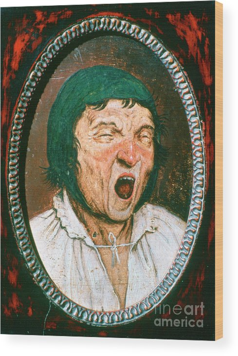 People Wood Print featuring the drawing Man Yawning, C1545-1569. Artist Pieter by Print Collector