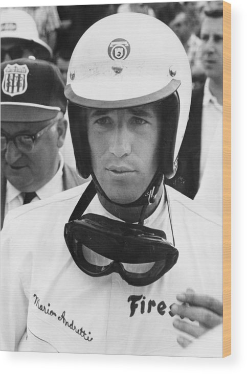 Helmet Wood Print featuring the photograph Mario Andretti by Heritage Images