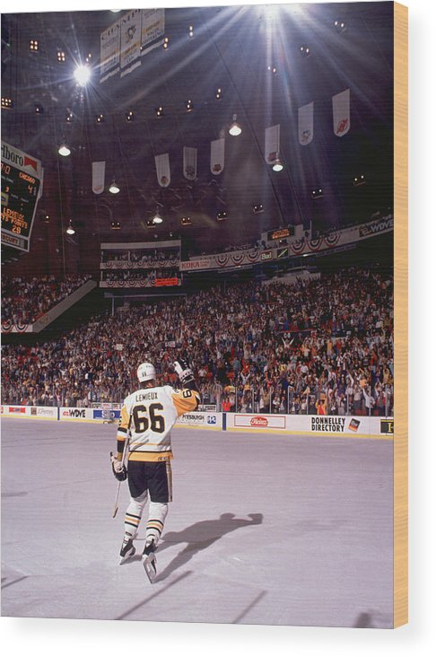 Playoffs Wood Print featuring the photograph Mario Lemieux Waves To The Crowd by B Bennett