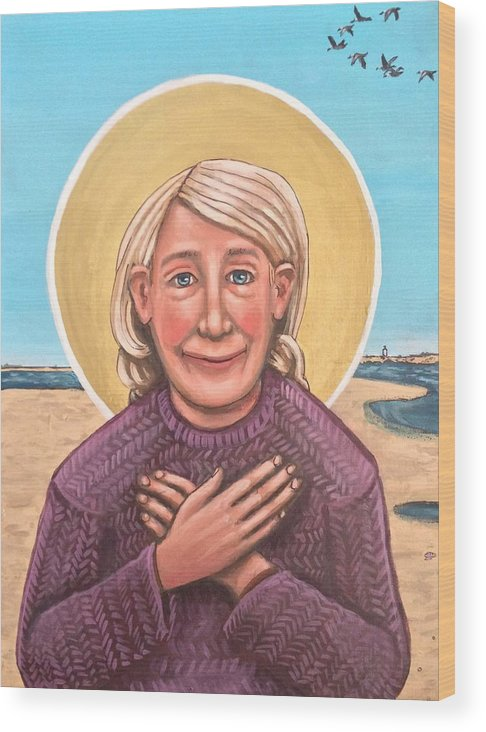Wood Print featuring the painting Mary Oliver by Kelly Latimore