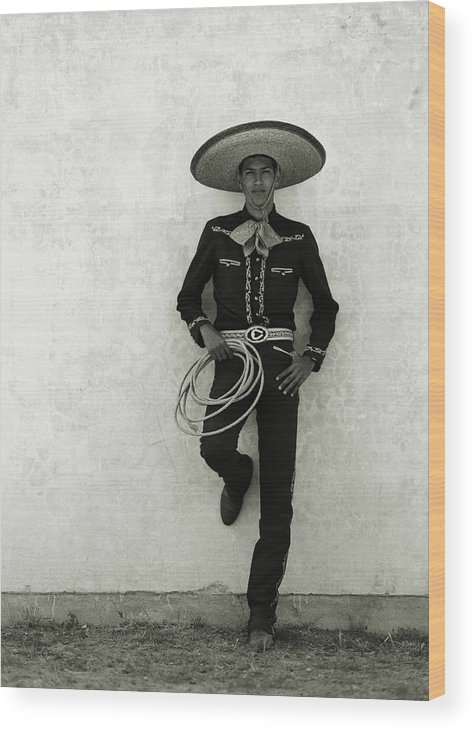 Cool Attitude Wood Print featuring the photograph Mexican Cowboy Wearing Hat And Holding by Terry Vine