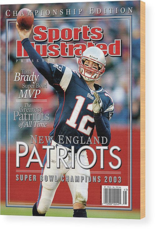 Motion Wood Print featuring the photograph New England Qb Tom Brady, Super Bowl Xxxviii Champions Sports Illustrated Cover by Sports Illustrated