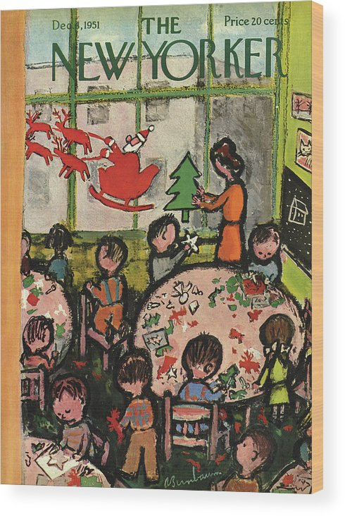 Christmas Xmas Holiday Art Arts Crafts Construction Wood Print featuring the painting New Yorker December 8, 1951 by Abe Birnbaum