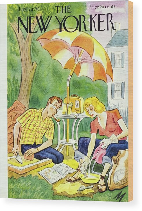 Illustration Wood Print featuring the painting New Yorker July 12th 1947 by Julian De Miskey