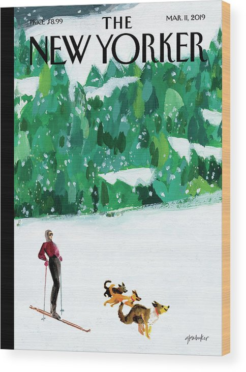 Skiing Wood Print featuring the painting Off The Path by Gayle Kabaker