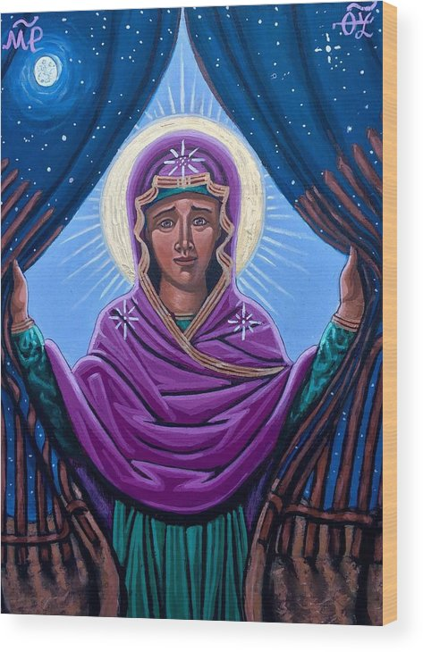 Wood Print featuring the painting Our Lady Who Removes Walls by Kelly Latimore