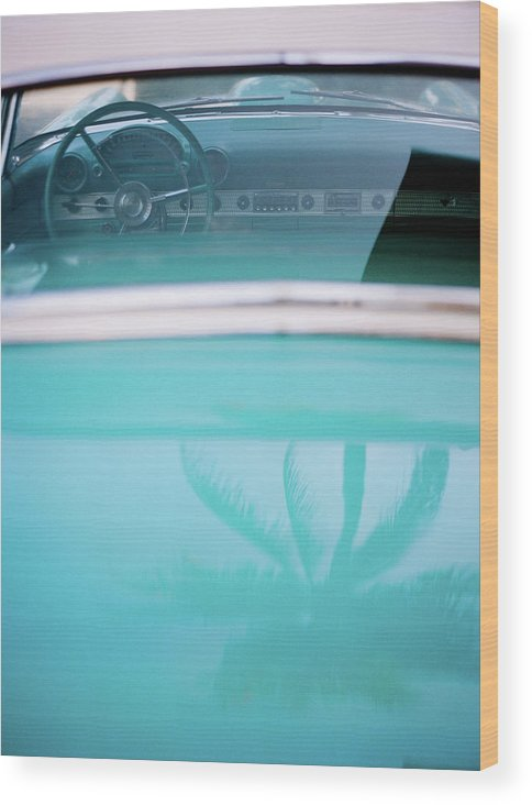 Outdoors Wood Print featuring the photograph Palm Tree Reflection On Car by Jörgen Persson - Www.rebusfilm.se