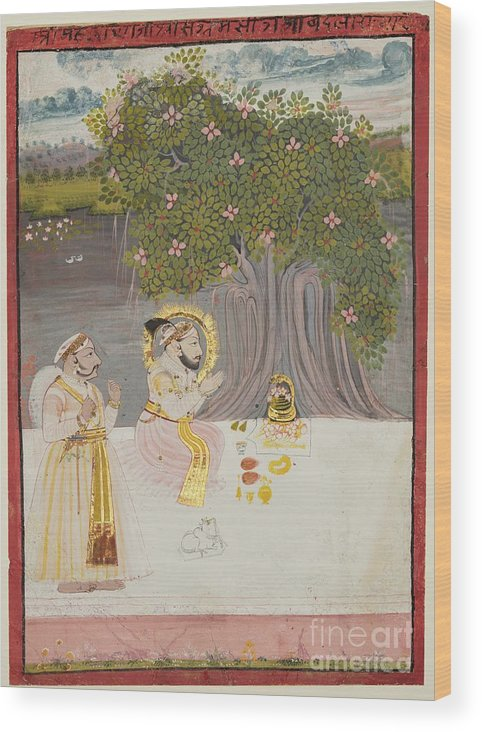 Rajasthan Wood Print featuring the drawing Rana Sangram Singh Worshipping A Linga by Heritage Images