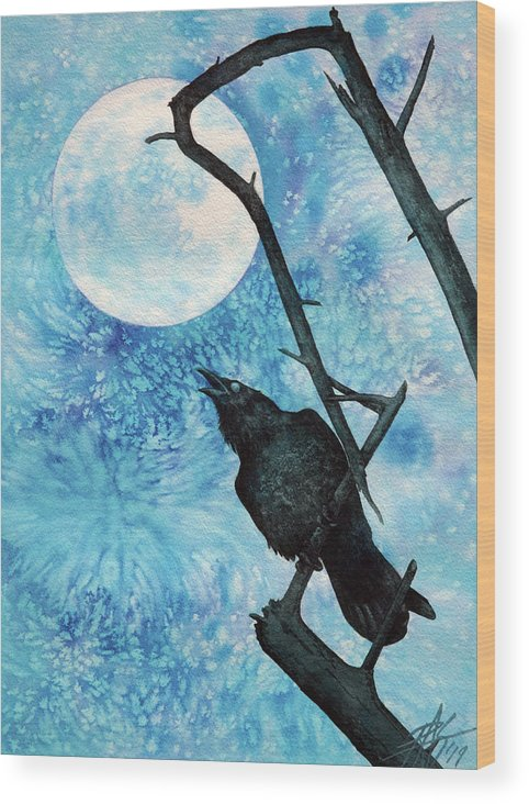 Raven Wood Print featuring the painting Raven with Torrey Pine Branch and Cold Moon by Robin Street-Morris