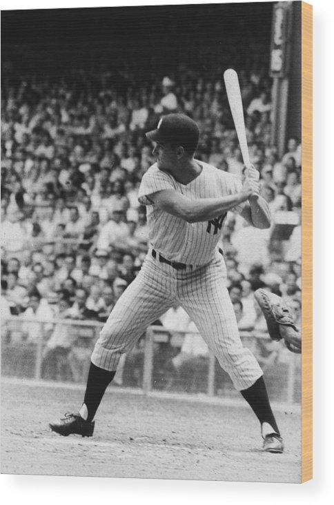 American League Baseball Wood Print featuring the photograph Roger Maris At Bat At Yankee Stadium by Hulton Archive