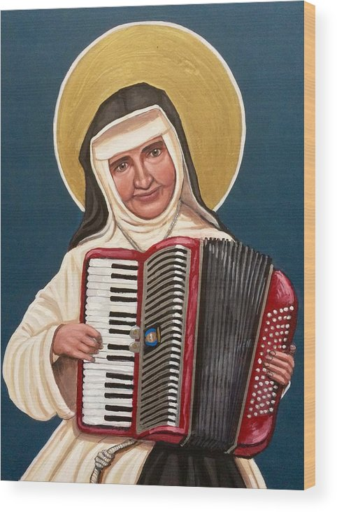 Wood Print featuring the painting Saint Dulce of the Poor by Kelly Latimore