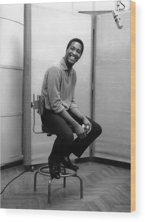 Sam Cooke - Singer Wood Print featuring the photograph Sam Cooke In The Studio by Michael Ochs Archives