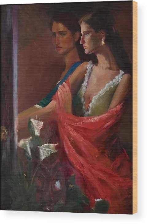 Double Portrait Wood Print featuring the painting Sisters at the Door by Irena Jablonski