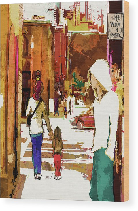 City Life Wood Print featuring the digital art Street Life Innocence by Regina Wyatt