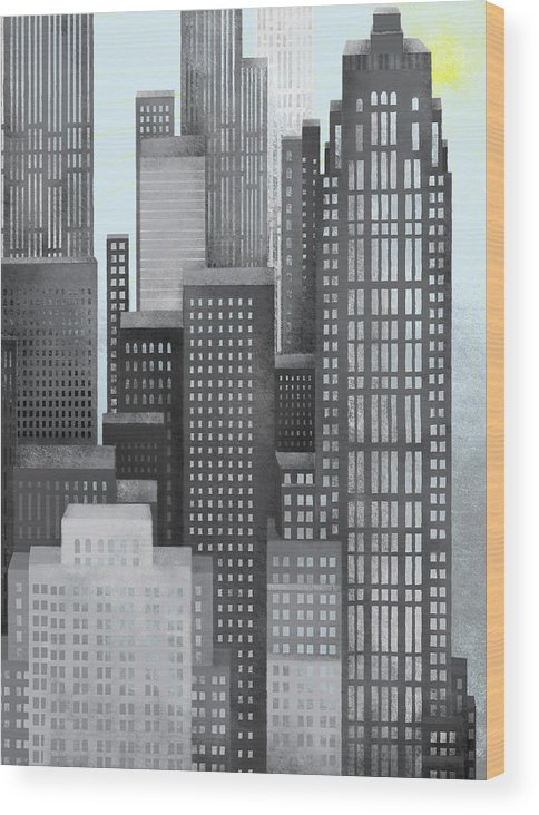 Part Of A Series Wood Print featuring the digital art Sun And Skyscrapers by Jutta Kuss