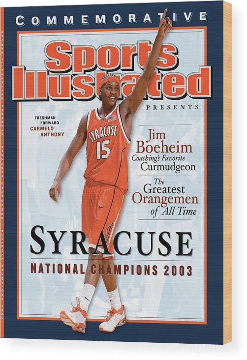 Louisiana Superdome Wood Print featuring the photograph Syracuse University Carmelo Anthony, 2003 Ncaa National Sports Illustrated Cover by Sports Illustrated