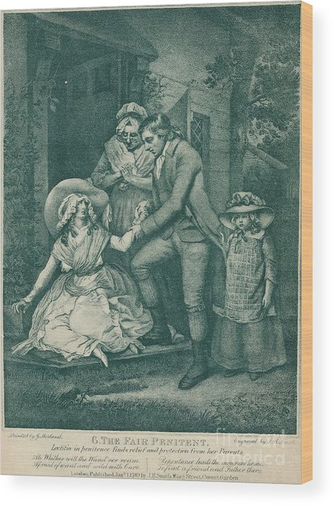 Engraving Wood Print featuring the drawing The Fair Penitent Laetitia In Penitence by Print Collector