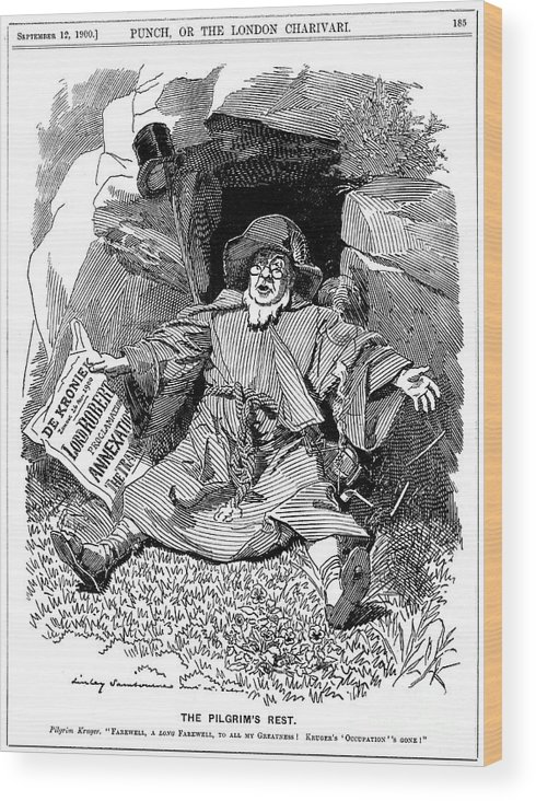Engraving Wood Print featuring the drawing The Pilgrims Rest, Caricature Af Paul by Print Collector