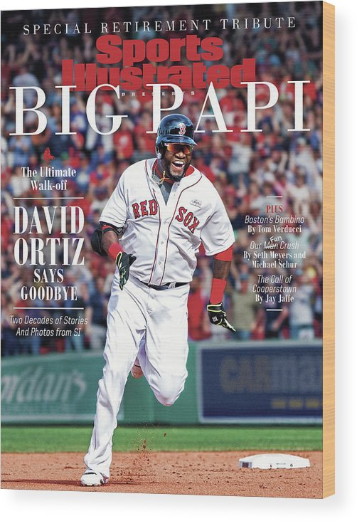 American League Baseball Wood Print featuring the photograph The Ultimate Walk-off David Ortiz Says Goodbye Sports Illustrated Cover by Sports Illustrated