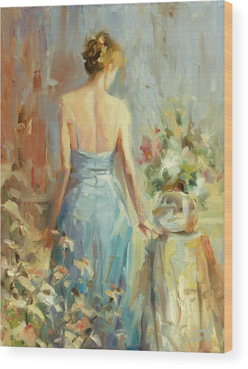 Woman Wood Print featuring the painting Thoughtful by Steve Henderson