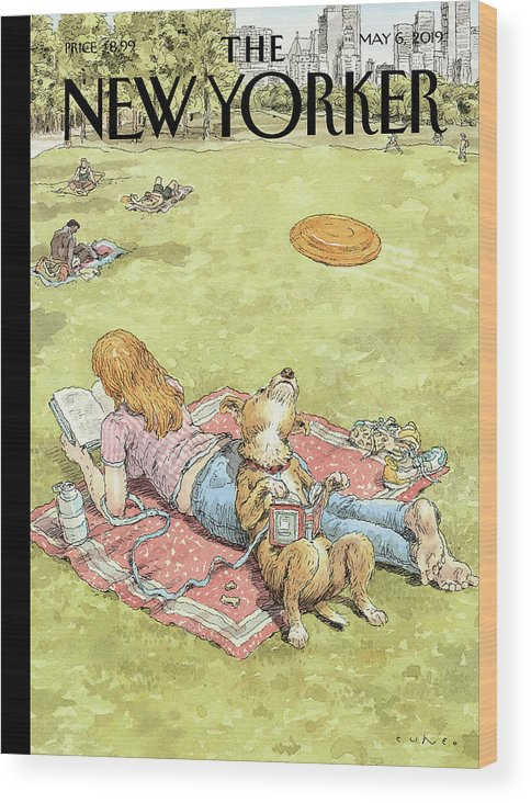 To Fetch Or Not To Fetch Wood Print featuring the painting To Fetch or Not to Fetch by John Cuneo