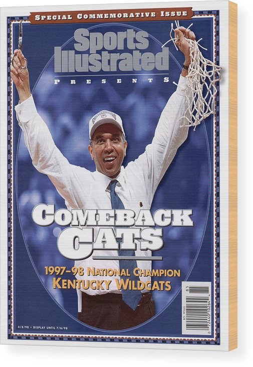 Alamodome Wood Print featuring the photograph University Of Kentucky Coach Tubby Smith, 1998 Ncaa Sports Illustrated Cover by Sports Illustrated