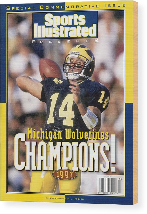 Brian Griese Wood Print featuring the photograph University Of Michigan Qb Brian Griese, 1997 Ncaa National Sports Illustrated Cover by Sports Illustrated