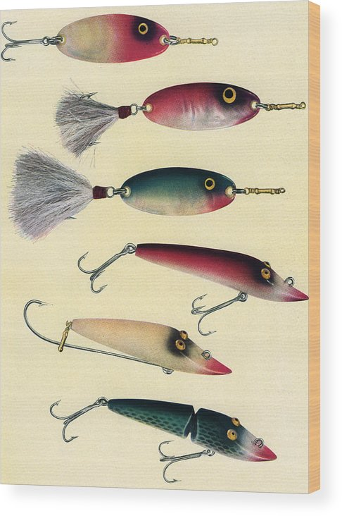 Sport Wood Print featuring the digital art Vintage Fishing Lures by Graphicaartis