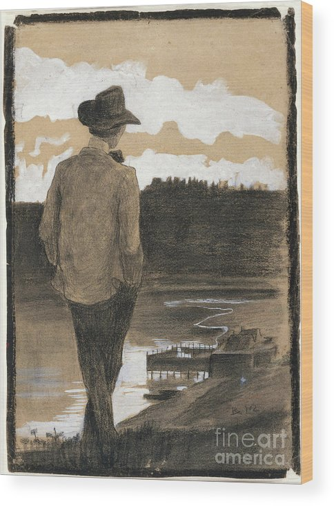 Young Men Wood Print featuring the drawing Young Man On A Riverbank by Heritage Images