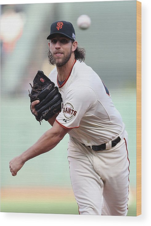 Playoffs Wood Print featuring the photograph Madison Bumgarner by Christian Petersen