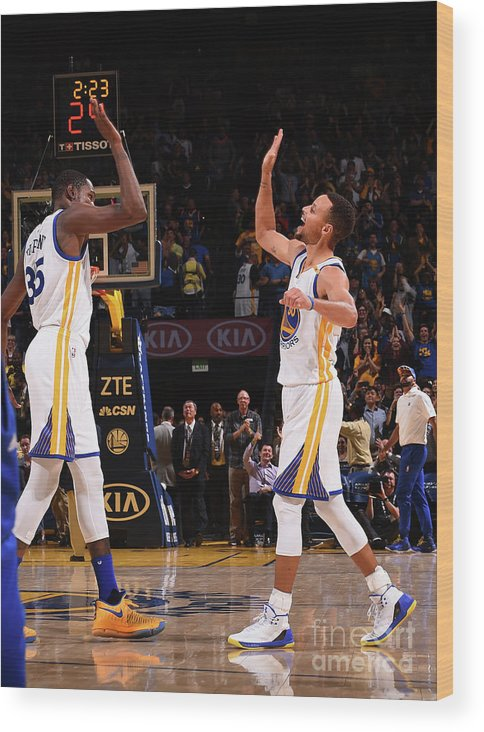 Nba Pro Basketball Wood Print featuring the photograph Stephen Curry and Kevin Durant by Noah Graham