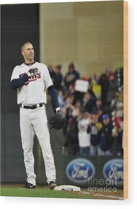 Joe Mauer Wood Print featuring the photograph Joe Mauer by Hannah Foslien