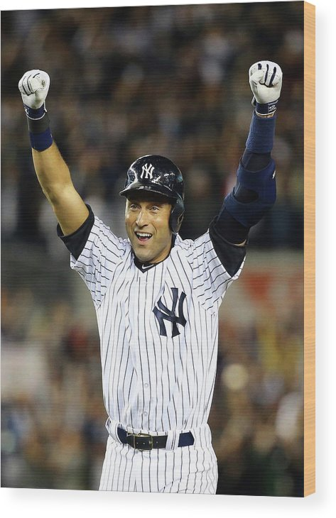 Ninth Inning Wood Print featuring the photograph Derek Jeter by Al Bello