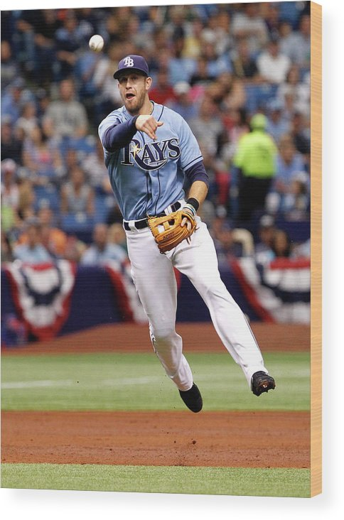 American League Baseball Wood Print featuring the photograph Evan Longoria by Brian Blanco
