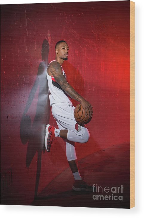 Media Day Wood Print featuring the photograph Damian Lillard by Sam Forencich