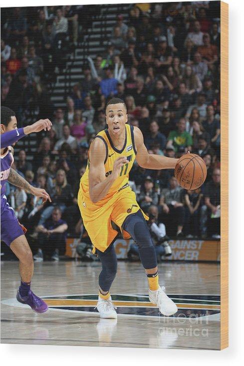Nba Pro Basketball Wood Print featuring the photograph Dante Exum by Melissa Majchrzak