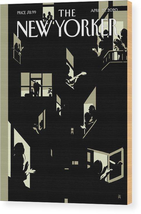 City Wood Print featuring the digital art A Chorus Of Thanks by Tomer Hanuka