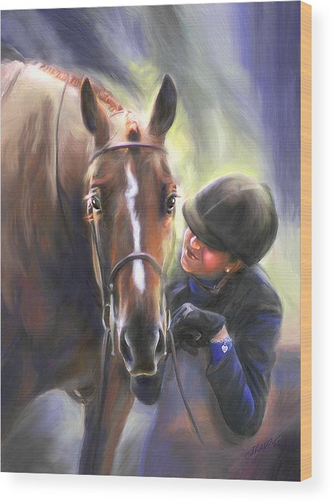 Horse Wood Print featuring the painting A Secret Shared Hunter Horse With Girl by Connie Moses