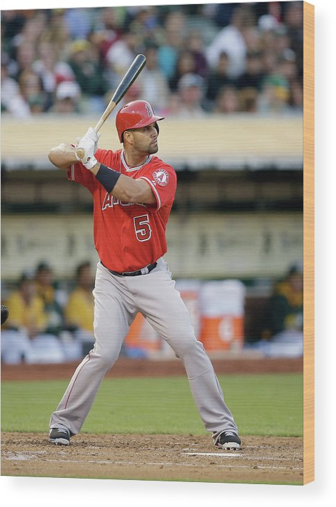 American League Baseball Wood Print featuring the photograph Albert Pujols by Ezra Shaw