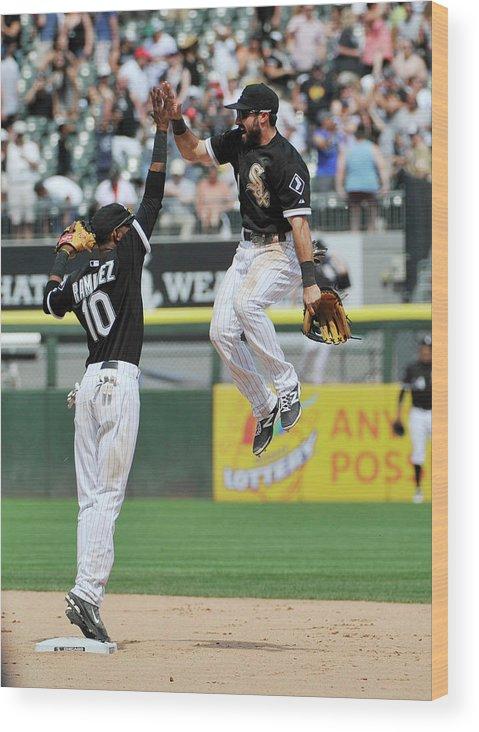 American League Baseball Wood Print featuring the photograph Alexei Ramirez and Adam Eaton by David Banks