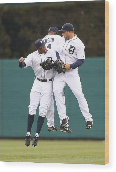 American League Baseball Wood Print featuring the photograph Austin Jackson, Rajai Davis, and Tyler Collins by Leon Halip