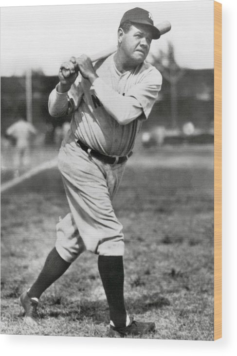 American League Baseball Wood Print featuring the photograph Babe Ruth by Mlb Photos
