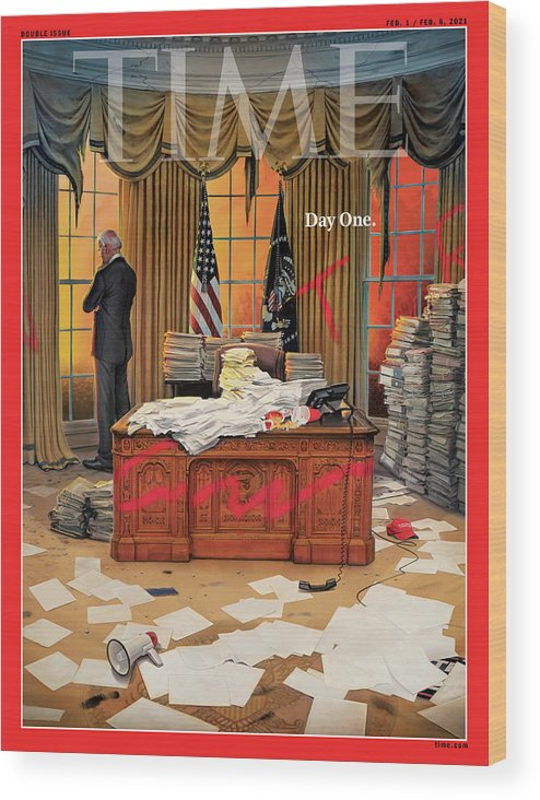 President Joseph R. Biden Wood Print featuring the photograph Biden Presidency - Day One by Illustration by Tim O'Brien for TIME