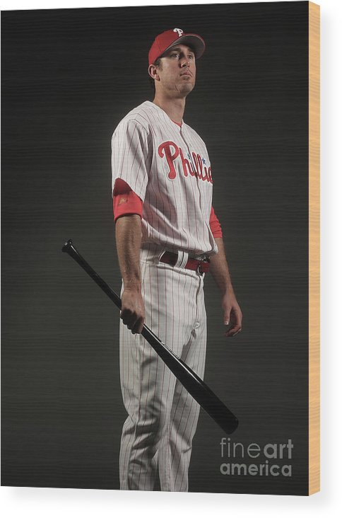Media Day Wood Print featuring the photograph Chase Utley by Nick Laham