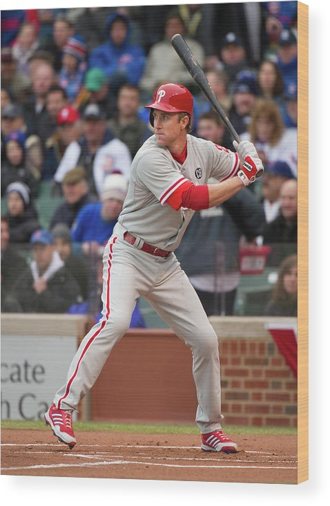 National League Baseball Wood Print featuring the photograph Chase Utley by Ron Vesely