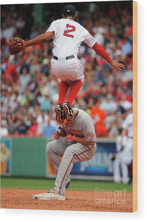 People Wood Print featuring the photograph Chris Davis and Xander Bogaerts by Winslow Townson