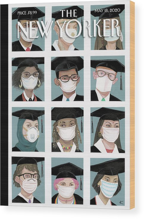 Student Wood Print featuring the painting Class Of 2020 by Anita Kunz