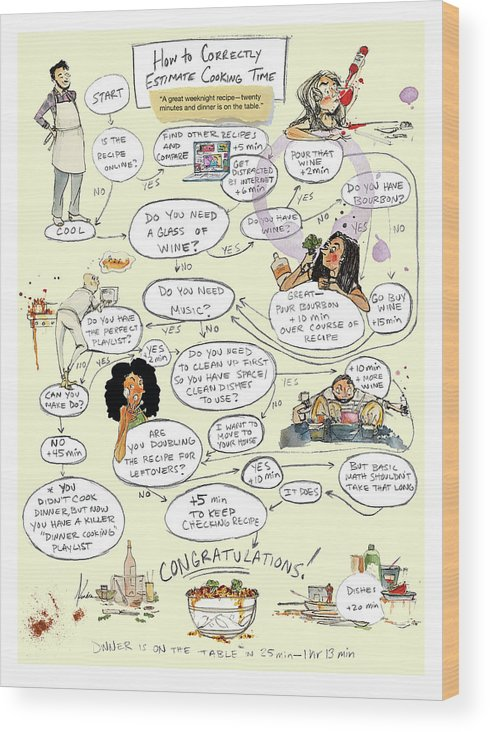 How To Correctly Estimate Cooking Time Wood Print featuring the drawing Cooking Time by Kendra Allenby