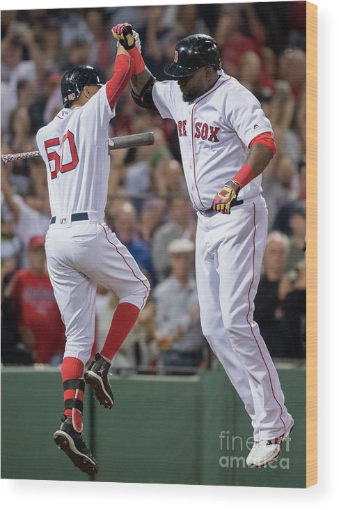 People Wood Print featuring the photograph David Ortiz and Mookie Betts by Michael Ivins/boston Red Sox